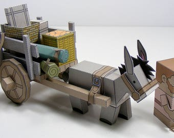 MINIWORLD PAPER TOYS – Donkey cart – Cut, assemble and play. Instant download.