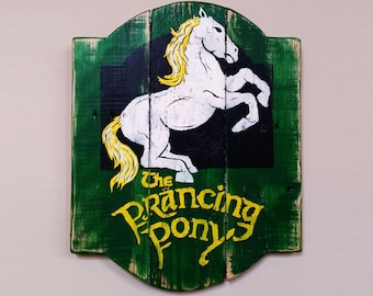 Handpainted Lord Of The Rings The Prancing Pony Reclaimed Wood Sign, Rustic Decor, Man Cave Sign, Pallet Wall Art