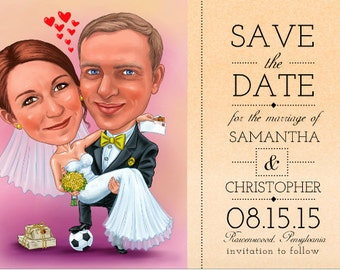 Save The Date CARICATURE card / funny save the date / unique save the date /custom save the date /save the date cartoon /save the date ideas