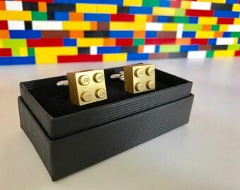 Pair of Handmade MonkiStuff Designed Cufflinks, Metallic Gold made using LEGO® Bricks