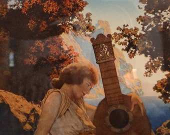 Original Maxfield Parrish Framed Print // The Lute Players // Reinthal and Newman NY