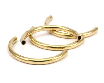Brass Noodle Tubes - Raw Brass Semi Circle Curved Tube Beads (3.5x41mm) D266