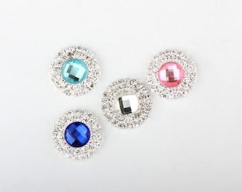 5/10/20pcs 21mm Teal/Red/Royal Blue/Pink/Clear Rhinestone Embellishment Round Metal Button DIY Wedding Bridal Invitation Wholesales Supply