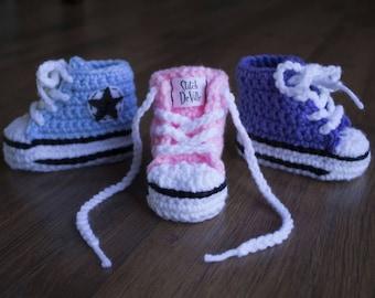 Crochet Converse style baby booties in light blue, light pink, light purple