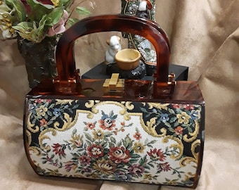 Vintage tapestry Lucite two handle box purse