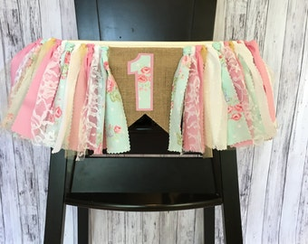 Shabby Chic Highchair Banner // Rose Highchair Banner // Flower Highchair Banner // Rustic Highchair Banner // Burlap Highchair Banner //