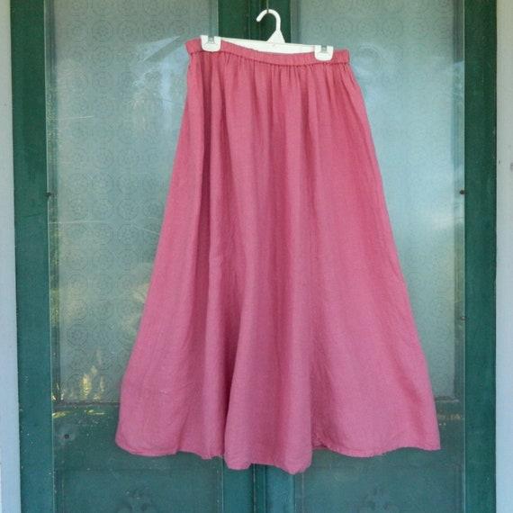 FLAX Designs Flax de Soleil Splaying Skirt -2G/2X- Rose Petal Pink Linen
