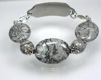 Medical Bracelet ID Bracelet Crazy Lace Agate InterchangeableBracelet Replacement Medical Bracelet Chunky Med ID Bracelet