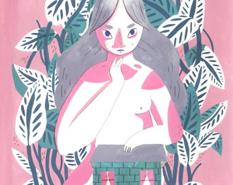 Lady in The Leaves // A4 giclee print