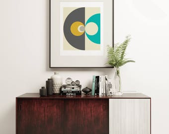 MCM15 - Super Stylish Space Age Style Graphic Art Print in a Mid Century Design with Grey, Yellow and Turquoise