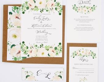 Greenery Wedding Invitations - Eucalyptus - Wedding Invitations - Greenery Collection Deposit