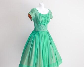 Sea Glass, Chiffon Party Dress, Custom Made- Sz S - M