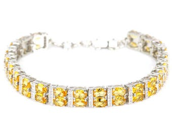 """Sterling Silver Golden Citrine Gemstone Bracelet With AAA CA Accents 7-7.5"""""""