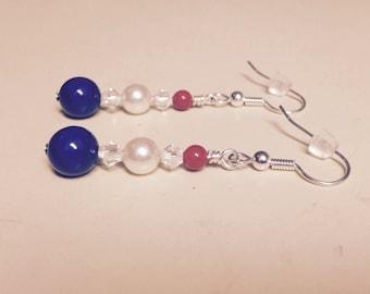 Swarovski Crystal Pearl Earrings Red White & Blue