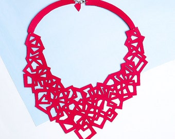 CUBE. Bib necklace eco-leather, contemporary jewelry, handmade jewelery, modern necklace, gift for her