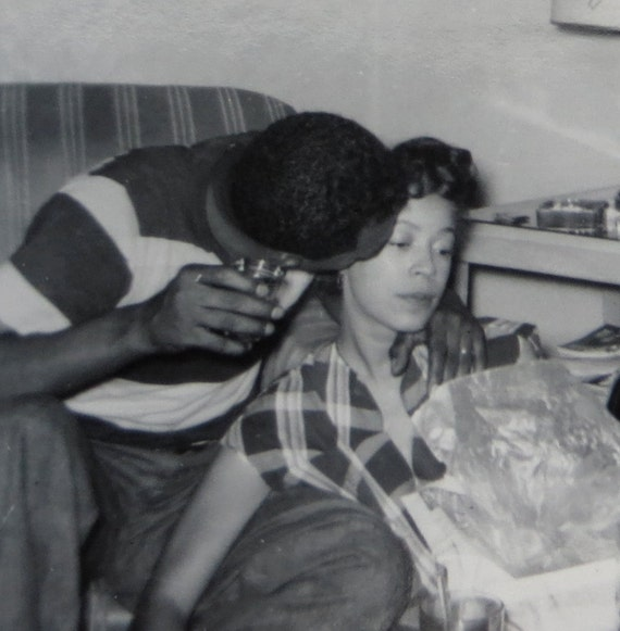 Young Love Cute 1950s African American Couple Under A