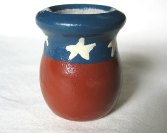 SALE Succulent Miniature Planter or Candlestick Holder Painted Wood in Patriotic USA Red White and Blue