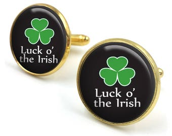 St Patricks Day Cufflinks, Irish Cuff Links, Leprechaun,Luck of the Irish,Irish gifts,Gift for Him,Gift for Men,Irish Gift, Four Leaf Clover