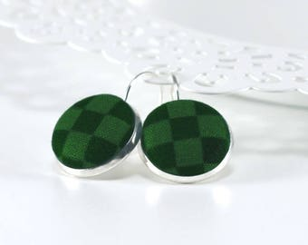 Green Drop Earrings, Green Check Earring, Fabric Covered Button Jewelry, Silver Toned Leverback Earring, Retro Jewelry, Green Plaid Earrings