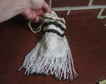 Vintage 1920s Glass Beaded Black and White Drawstring Flapper Purse