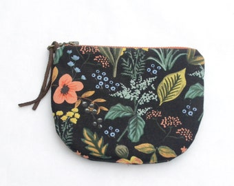 Herb Garden Black Padded Round Zipper Pouch / Coin Purse / Gadget / Cosmetic Bag - READY TO SHIP