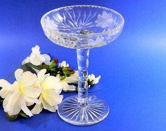 Antique American Wheel Cut Glass Tall Compote Flowers and Leaves