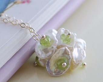 Real Peridot Necklace, Birthstone Jewelry, August Birthday, Keishi Keshi Pearl, Flower Blossom Pendant, Wire Wrapped, Sterling Silver