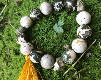 Ocean Jasper and pyrite stackable stretch bracelet with tassel