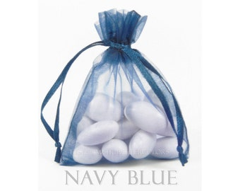 10 Navy Blue Organza Bags, 6 x 9 Inch Sheer Fabric Favor and Gift Bags