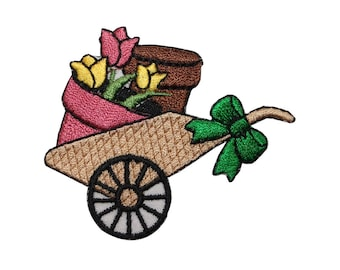 ID 7022 Flower Garden Wagon Patch Spring Plant Cart Embroidered Iron On Applique