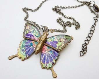 Vintage butterfly neckalce, nature jewellery, nature necklace, butterfly jewellery