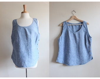 Vintage Button Side Blue Linen Tank Top