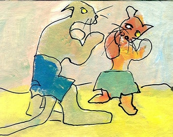 Boxing Puddy Cats original abstract aceo painting