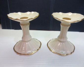 "Lenox Candlestick Holders 4 1/2"", Lenox Hand Painted with 24K Gold Trim"