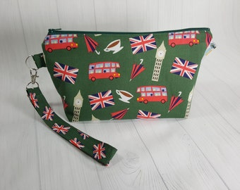 Small Knitting Project Bag, London Scene, Big Ben, Union Jack, Double Decker Bus, Zipper Knitting Wedge Bag, Cosmetic Bag WS0084