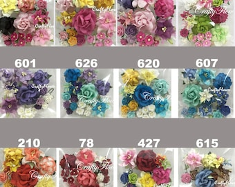 Variations Listing of 26 Mixed Paper Flowers Scrapbooks Wedding Faux Cards Dolls Crafts Roses Lily (Set3-77/40)