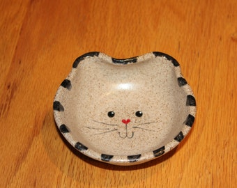 Small Pottery Cat Bowl