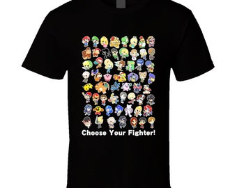 Super Smash Bros. Wii U / 3DS - All 58 Characters! Group - Cute Black T-Shirt