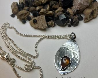 Hessonite Garnet Pendant Argentium Sterling Silver
