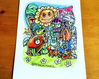 Warzone A5 digital print Plants vs Zombies watercolour ink illustration surreal cartoon fantasy surreal bizarre