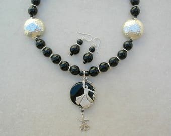 Turkish Whirling Dervish Necklace, Sufi Dervish, Onyx Pendant & Beads, Middle Eastern, the Silk Road Collection, by SandraDesigns