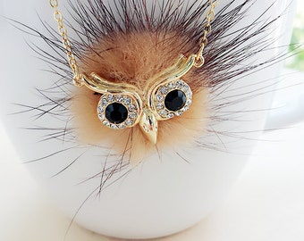 furry owl necklace, owl necklace, womens necklace, jewelry, owl jewelry, owl charm, necklace for friend, SALE, brown owl necklace,animal owl