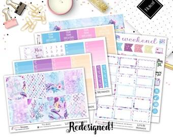 Lets Be Mermaids | Full Weekly Vertical Kit | Planner stickers