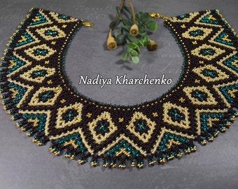 Beaded NECKLACE, Choker, Beaded choker, Seed bead necklace, choker, Gerdan, Beaded collar, Jewelry, collar, beadwork necklace