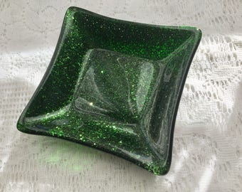 Fused Glass Dish, Aventurine Green Art Glass Dish, Emerald Green Ring Dish, Trinket Tray
