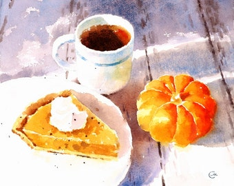 Pumpkin Pie - Print 8 x 10 inches Watercolor Fall Thanksgiving Dessert Tea