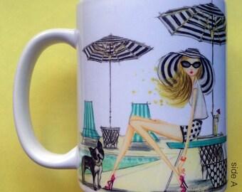 Patina Poolside, Coffee Mug, Fashion illustration, Bella Pilar, Fashion mug