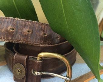 VINTAGE BELT...secret pocket men belt ~ size 36 ~ brown leather ~ travel safe ~ Remington Peters gun bullet brass