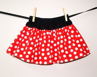 Minnie Ruffle Skirt, Red White Polka Dot Skirt, Baby Girl Skirt, Red White and Black Twirl Skirt, Boutique Girls Skirt