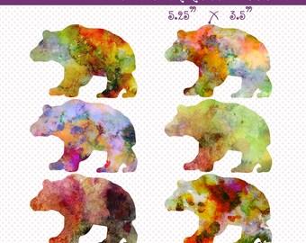 Watercolor Bears Clip Art, Digital Scrapbooking Elements, Digital Downloads, Digital PNG Clip Art, Bears Clip Art, Cliparts, Watercolor Art